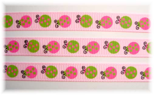 3/8 PRETTY LADY LADYBUGS PINK - 5 YARDS