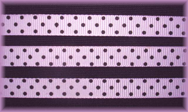 3/8 ORCHID BLACK SWISS DOTS - 5 YARDS