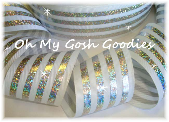 2 1/4 CLASSIC HOLOGRAM STRIPE WHITE SILVER - 5 YARDS