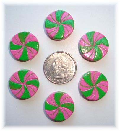 2PC PINK LIME PINWHEEL CANDY RESINS