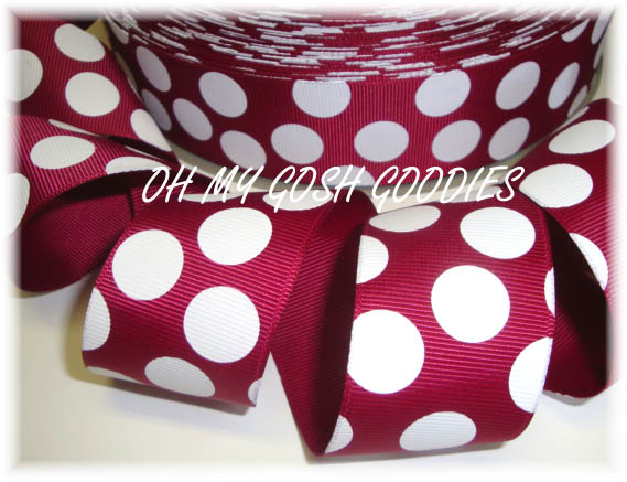 1.5 IRREGULAR  MAROON PINK JUMBO DOTS - 5 YARDS