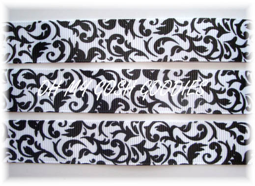 7/8 WHITE/BLACK DAMASK - 5 YARDS