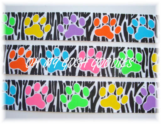 7/8 BRIGHT PAWS ZEBRA - 5 YARDS