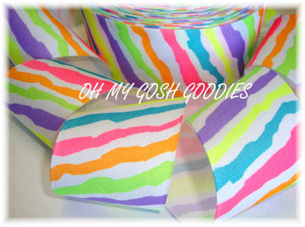 2 1/4 BRIGHT NEON  ZEBRA - 5 YARDS