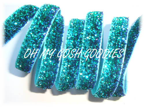 3/8 OOAK TURQUOISE ROYAL METALLIC GLITTER  -3 YARDS