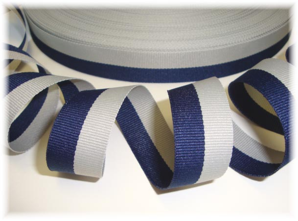 7/8 OOAK NAVY GRAY BI STRIPE - 2 3/4 YARDS