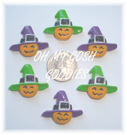 2PC WITCHY HAT PUMPKIN RESINS