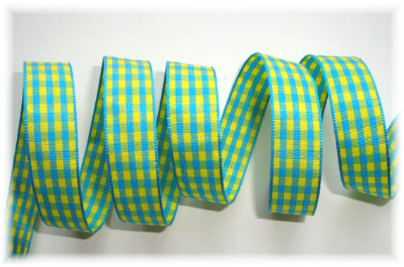 5/8 TURQUOISE LIME CHECK - 5 YARDS