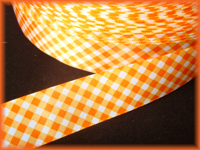 7/8 VENUS SATIN ORANGE WHITE GINGHAM CHECK - 5 YARDS
