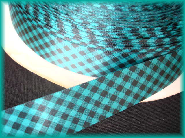 7/8 VENUS SATIN TURQUOISE BLACK GINGHAM CHECK - 5 YARDS