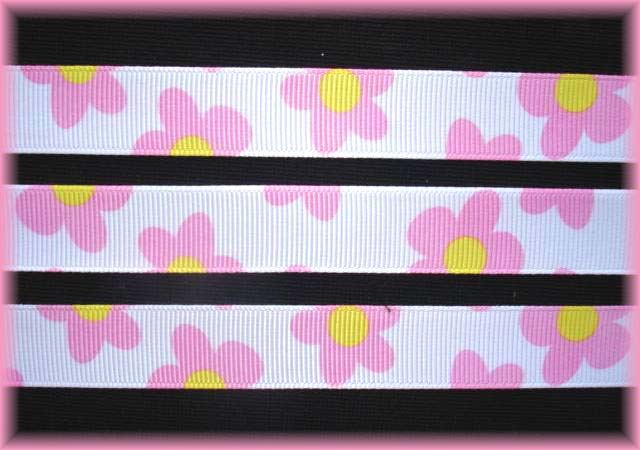 5/8 SALE WHITE PINK DAISY FLOWERS - 5 YARDS