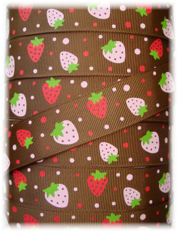 7/8 BROWN OH SO STRAWBERRY BURST - 5 YARDS