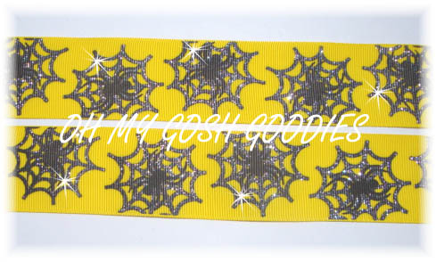 1.5 SPIDER WEB GLITTER YELLOW - 5 YARDS