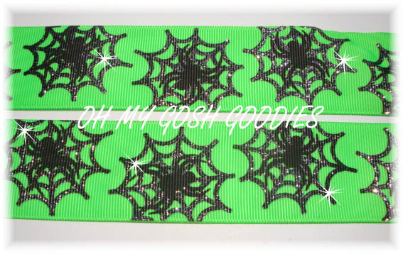 1.5 SPIDER WEB GLITTER LIME - 5 YARDS