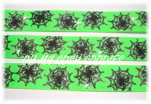 7/8 SPIDER WEB GLITTER LIME - 5 YARDS