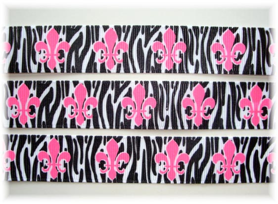 7/8 FLEUR DE LIS HOT PINK BLACK ZEBRA 2 - 5 YARDS