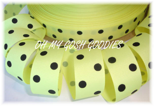7/8 SALE YELLOW BLACK CLASSIC POLKA DOTS - 5 YARDS