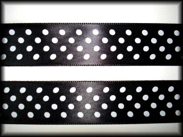 7/8 SALE BLACK PIN DOTS SATIN VENUS RIBBON - 5 YARDS