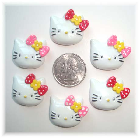 6PC KITTY CAT PINK  RED BOW RESINS