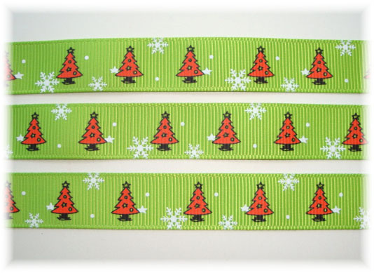 5/8 MERRY CHRISTMAS TREES LIME RED - 5 YARDS