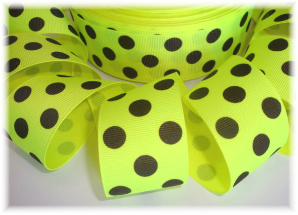 1.5 LAST ONE NEON YELLOW BLACK JUMBO DOTS - 5 YARDS