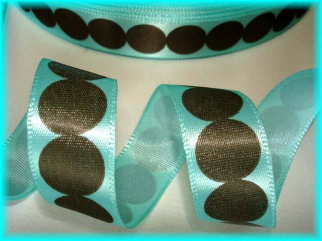 5/8 OOAK OFFRAY ROUNDABOUT DOTS AQUA BROWN - 5 YARDS