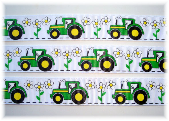 7/8 BIG GREEN TRACTOR - GIRL WHITE - 5 Yards