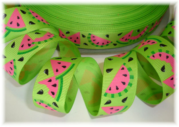 7/8 WATERMELON SEEDS & SLICES LIME - 5 YARDS