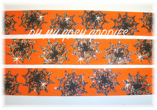 7/8 SPIDER WEB GLITTER ORANGE - 5 YARDS