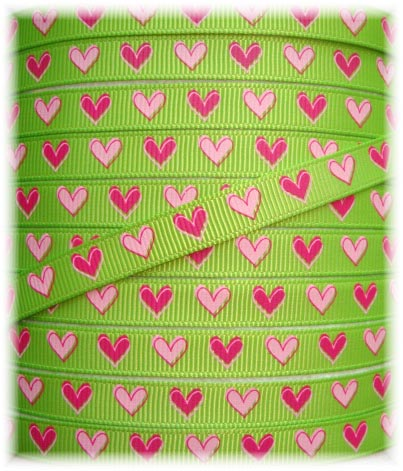 3/8 LIME SHOCKING PINK HEARTS  - 5 YARDS