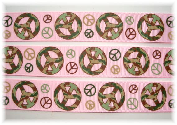 100 YARD ROLL SALE - 7/8 CAMOFLAUGE PEACE PINK
