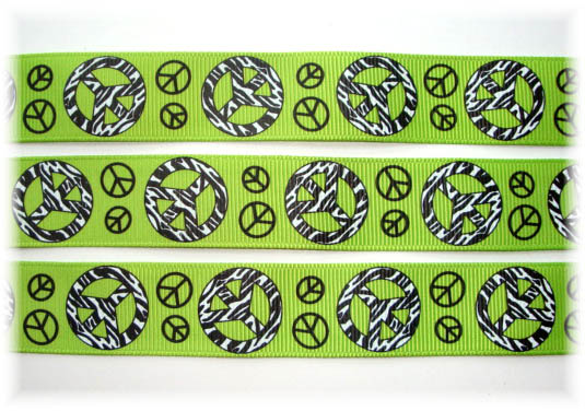 7/8 ZEBRA PEACE SIGN LIME - 5 YARDS