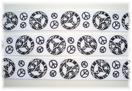 7/8 ZEBRA PEACE SIGN WHITE - 5 YARDS