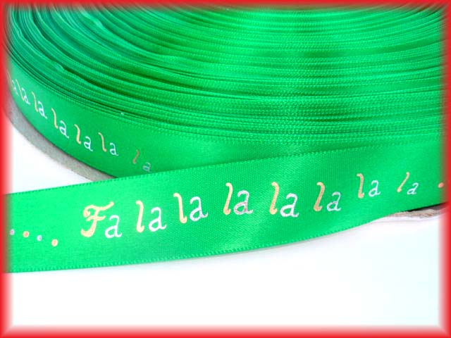 7/8 GREEN FA LA LA SATIN RIBBON - 5  YARDS