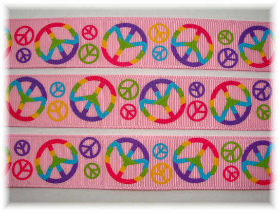 7/8 TYE DYE PEACE RIBBON PINK - 5 YARDS