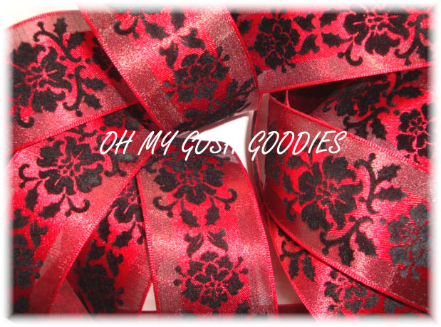 1.5 OOAK RED DAMASK BLACK VELVET - 3 1/2 YARDS