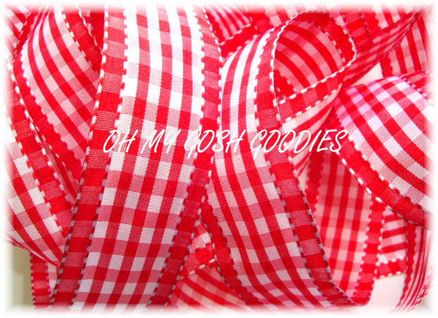 1.5 RED WHITE GINGHAM CHECK - 5 YARDS
