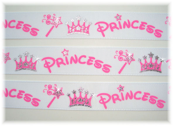 7/8 PRINCESS SPARKLE CROWNS WHITE - 5 Yards