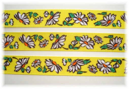5/8 VINTAGE DAISY FLOWERS YELLOW - 5 YARDS