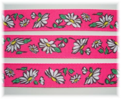 5/8 VINTAGE DAISY FLOWERS PINK - 5 YARDS