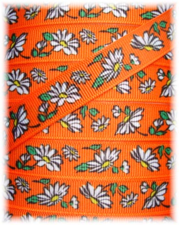 5/8 VINTAGE DAISY  FLOWERS ORANGE - 5 YARDS