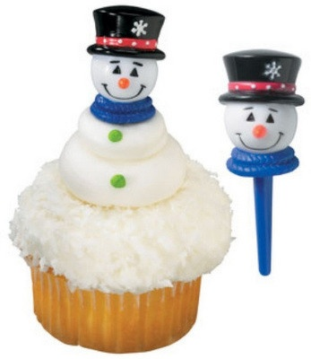 10PC SNOWMAN CUPCAKE PICK FOR HAIRBOWS