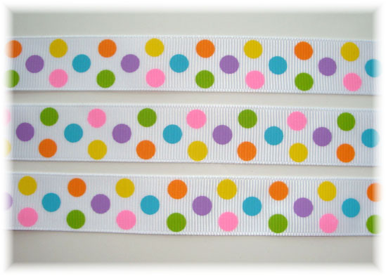 7/8 * TROPICAL * DOTS WHITE - 5 YARDS