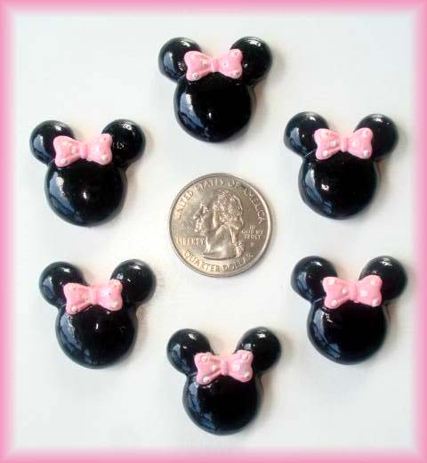 2PC MINNIE PINK BOW RESIN