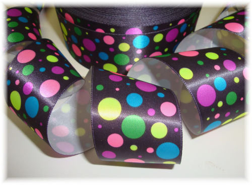 1.5 SALE EYE CANDY NEON DOTS VINTAGE SATIN - 5 YARDS