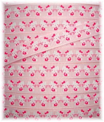 * 100 YARD ROLL SALE * 3/8 PINK HELLO KITTY KAT CAT SALE