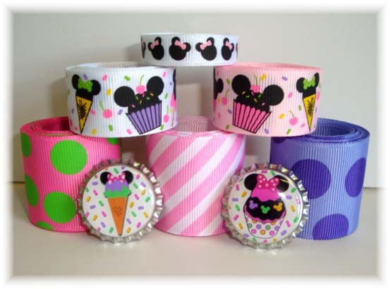 MINNIE CUPCAKE RIBBON MIX - ONE CAP ONLY SALE