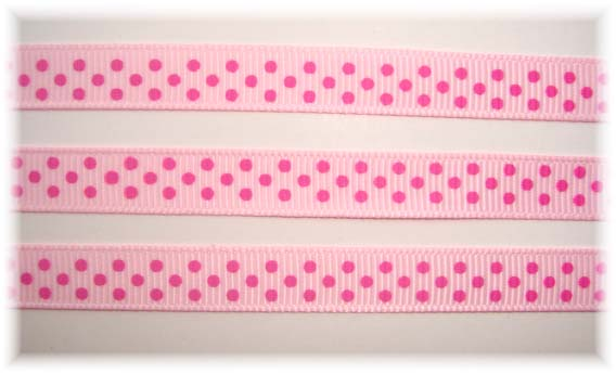 3/8 PINK HOT PINK SWISS DOTS - 5 YARDS