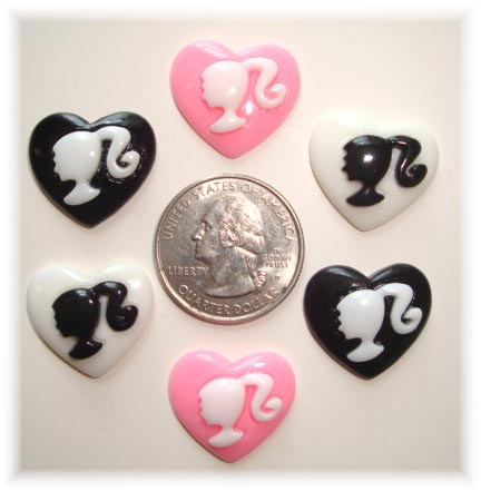 6PC FASHIONISTA SILHOUETTE HEART RESINS