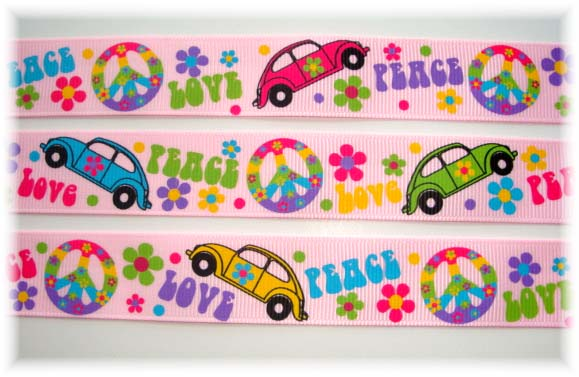 7/8 GROOVY PEACE VW BUG PINK - OOAK  - 6+ YARDS
